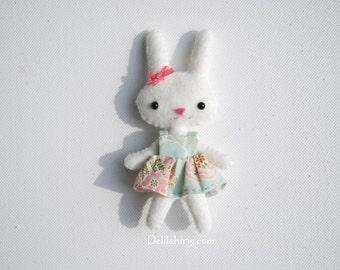PDF Bunny Doll Pattern - Tiny 4 Inch Pocket Doll Sewing Pattern With Dress - Printable Felt Doll Pattern