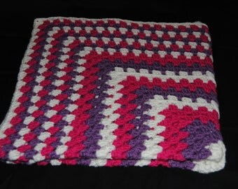 Pink, Purple, and White Baby Afghan, Crochet Baby Blanket, Crochet Baby Afghan