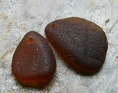 Chunky Brown Seaglass Duo. Top Drilled. Lot B9