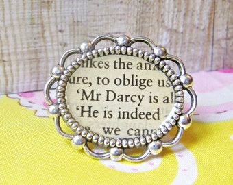 Pride and Prejudice Cocktail Ring. Jane Austen Mr Darcy Upcycled Literature Book. Words Silver Plated Cameo Jewellery. Two Cheeky Monkeys