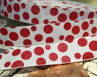 """7/8""""  Red Glitter Polka Dot Christmas on White Grosgrain Ribbon"""