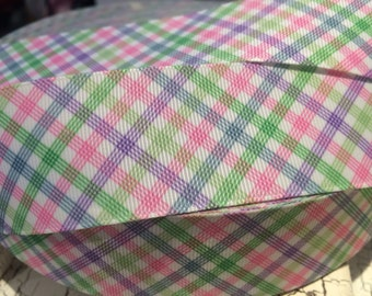 """1.5"""" Spring Plaid grosgrain ribbon sold by the yard"""