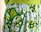 APRON Kitchen Pinafore Cook Chef Skirt Cover Vintage White, Lime Green and Sky Blue Tulip Pocket