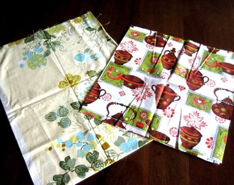 Vintage Fabric Cloth Sewing Yardage Antique Feed Sack Print Retro Quilt Quilting TWO PIECES Old Prints