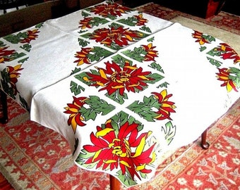 RETRO Vintage Sixties Print TABLECLOTH 60s Linen Bright Sharp Mosaic Flowers