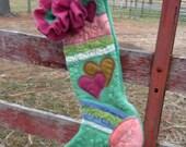 "Suri Felt Stocking, Christmas, 20"", Original Design, Heirloom, Green with Hearts"