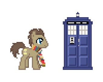 Doctor Whooves with Scarf (My Little Pony: Friendship Is Magic) - Cross Stitch Pattern