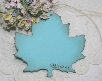 Wish Tree Wedding Tags - Bright Blue - Autumn Leaf Shape - Bridal Shower Wish Tags - Set of 25