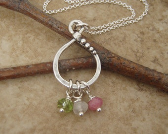 Dainty birthstone necklace - Mother's necklace - Children's birthstones - Grandmother gift - Sterling silver and tiny genuine birthstones