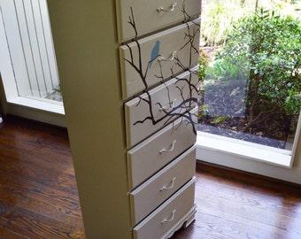 Blue bird dresser with tree
