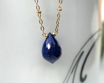 Lapis Lazuli Necklace | Royal Blue Lapis Lazuli Lotus Drop Briolette | 14k Gold Filled - Sterling silver Satellite Necklace | Ready to Ship