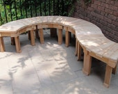36 Inch Stained or Natural Hand Crafted Cedar Fan Bench For Year Round Outdoor Use