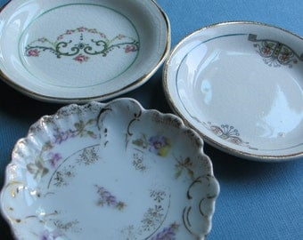 Three Antique Butter Pats - Dainty Designs - One Made in Germany