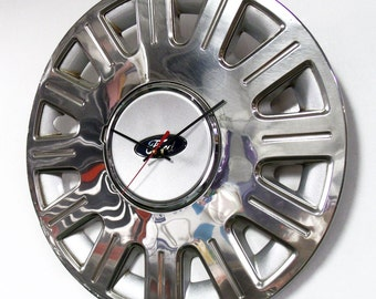 Recycled Wall Clock made from a 2003 - 2010 Ford Crown Victoria Hubcap - Crown Vic Hub Cap - 2004 2005 2006 2007 2008 2009