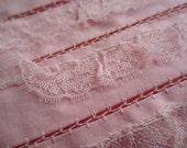 Vintage Pink Trim Wide Layer Lace