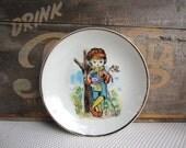 Vintage Little Boy Holding Present Action Lobeco Decorative Plate Japan