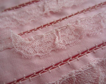 Vintage Pink Trim Wide Layer Lace