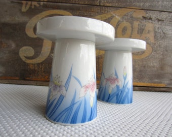 Vintage Blue Iris Pedestal Candle Holder OMC Otagiri Japan