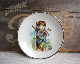 Vintage Little Boy Holding Present Action Lobeco Decorative Plate Japan