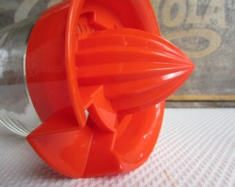 Vintage Juicer Orange Top Glass Container