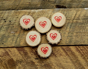 10 Tree Slice Heart Magnets  Perfect Valentines Gift