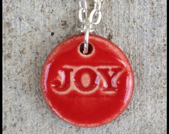 Red Stoneware JOY Pendant on Sterling Silver Chain
