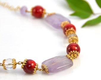 Amethyst Necklace Red Jasper Crystal Beaded Gold Gemstone Natural Gem Semi Prescious February Birthstone Valentine's Vintage - W2978