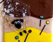 """Fused Glass Art """"A Sheep in The Desert"""" - Wall Art"""