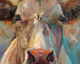 Cow Painting - Freida - Paper or Canvas Giclee Print