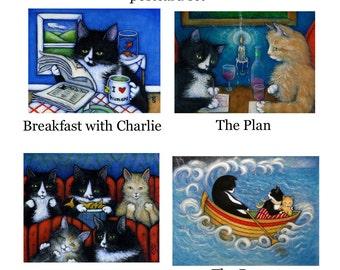 Adventures of Charlie II. Set of 4 postcards/ miniprints