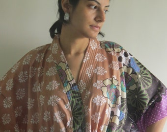 Brown Mauve Floral Nursing Maternity Hosptial Gown Delivery Kaftan Great as loungewear getting ready, beachwear gift for moms to be moms