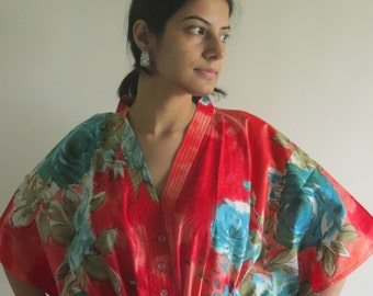 Red Teal Big Floral Nursing Maternity Hosptial Gown Delivery Kaftan Great as loungewear getting ready, beachwear gift for moms to be moms