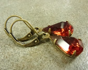 Earrings - Antiqued Brass Ox with Vintage Madeira Topaz Fiery Orange Pear Faceted Czech Glass Jewels