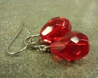 Cherry Red Earrings Faceted Glass Teardrops on Surgical Steel