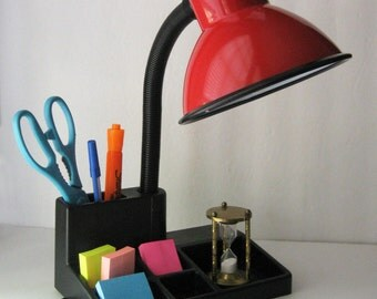 Red Enamel Desk Lamp, Organizer Tray Base