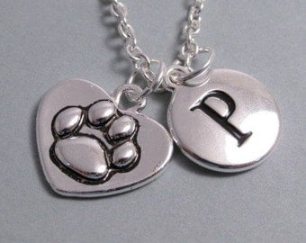 Pawprint Heart  Pawprint Heart Charm Pawprint  Silver Plated Charm    Supplies