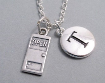 Door, Open Sign, Necklace, Front Door Sterling Silver Charm, Door Keychain, Personalized, Monogram Charm