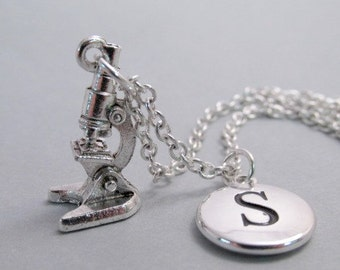 Microscope Charm Necklace, Microscope Keychain, Silver Plated Charm, Engraved Charm, Monogram