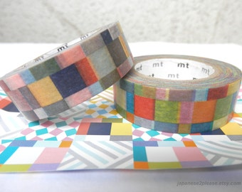 Set of 2 - Washi Check Mosaic MT Deco 2013 design 15mm x10m ( 2 roll set )
