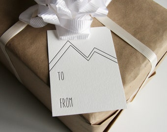Letterpress Gift Tags - Mountains - set of 9