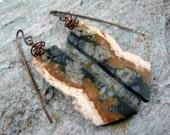 PICASSO JASPER SLICE Earrings, Copper & Stone Drop Earrings