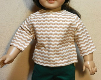 TC Tan & Ivory Zig Zag Stripe Blouse  - 18 Inch Doll Clothes fits American Girl