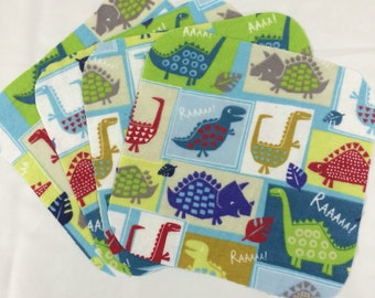 Dinos-  Set of 4 wipes - flannel and OBV - SOFT - 8x8 size