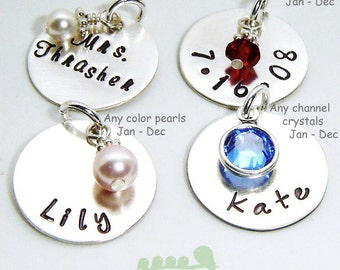 Add a charm - Handstamped name tag - hand stamped date charms - Birthstone jewelry - Name pendant -ONE CHARM