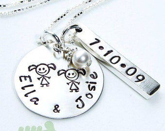 Personalized mother jewelry - hand stamped necklace - twins necklace- women jewelry - new baby name and date charms
