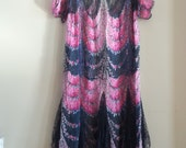 1920's Silk Crepe and Black Lace Party Dress