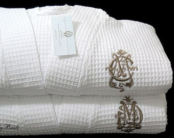 Anniversary Gift, His Hers Robes, Couples Robes, Mr and Mrs Robe, Monogrammed Wedding Gift, Cotton Anniversary, 1605 Set of 2 Robes