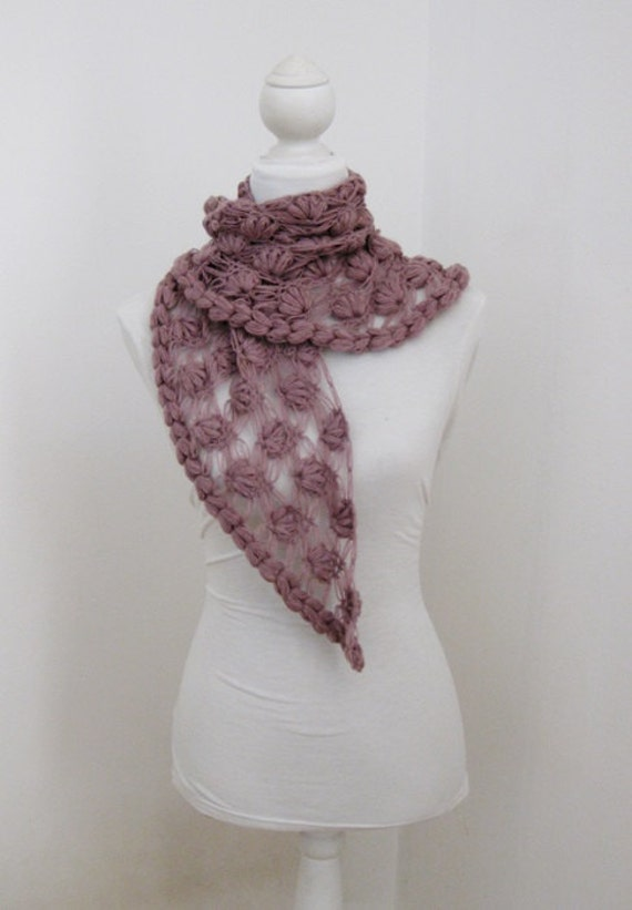 Dusty Rose, Scarf,Triangle Shawl, Neckwarmer, Spring, Mothers Day,