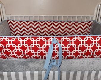 Gray Blue and Red Modern Chevron Custom Boy Bedding Baby Bumper Pad bedding Crib Set DEPOSIT Down payment only