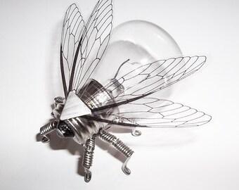 Steampunk brooch - Stainless Steel Fly Lightbulb Brooch - Unique Steampunk Steam Punk Clockwork Jewelry